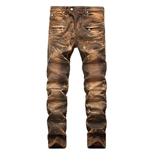 Geili Herren Jeans Hose Lang Vintage Used Look Destroyed Hohl Löchern Jeanshosen Denim Pants Basic Regular Fit Straight Jeans Große Größen Hip Hop Biker Hose Radlerhose Radhose