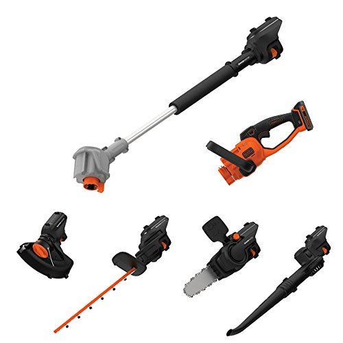 Black & Decker SeasonMaster 7-in-1 accu-tuingereedschap, multifunctionele set (18V, bestaande uit heggenschaar, kettingzaag, blazer en grastrimmer-opzetstuk plus verlengstaaf)