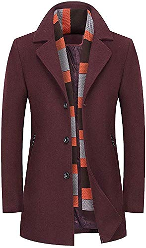 Biooarc Heren Winter Wollen Jas Lange Mens Overcoat Slim Fit Wol Blends Trench Jas Zwaar