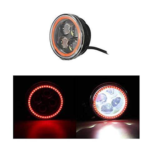 MOMOALA 9V-12 V 12V Rond LED Hi/Lo Faisceau De Travail avec Lumière RGB Angel Halo Spot Phare-Rouge