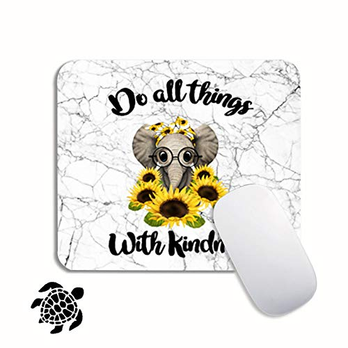 Elephant Mouse Pad with Sunflower for Kids White Marble Mousepad Mat with Nonslip Base for Boys Girls Do All Things with Kindle Mouse Pads Comes with A Sticker for Laptop Computer PC Office