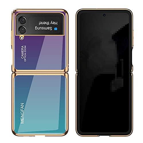 Galaxy Z Flip3 5G ケース SC-54B 背面ケース ハードケース 衝撃吸収 薄 軽量 強化ガラス SCG12背面カバー メッキ ストラップホール Z Flip3 カバー ZFlip3-BJ-20906 (ブルーブラック)