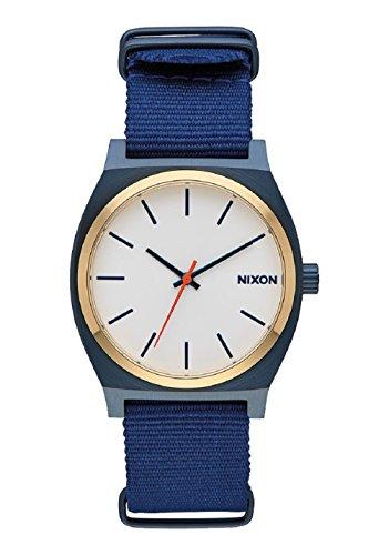 Nixon Men's Time Teller NATO Strap Watch, Blue/Gold/White, One Size