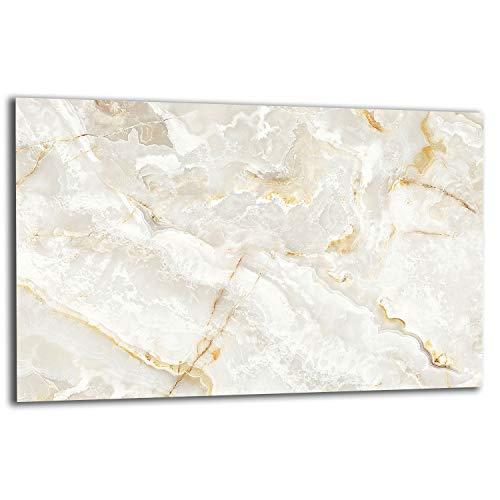 QTA | Herdabdeckplatte 80x52 1-teilig Glas Elektroherd Induktion Herdschutz Spritzschutz Glasplatte Schneidebrett Weiß Marmor