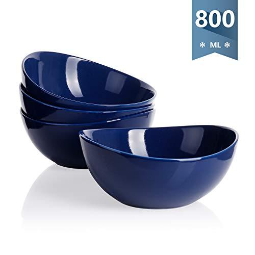 Sweese 103.103 Suppenschalen 4er Set aus Porzellan, Füllmenge 800 ml, Müslischale, Suppenschale, Salatschüssel, Dunkelblau