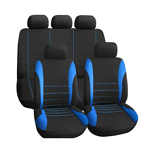 KKmoon 9pcs Car Seat Cover, Universal Fit Full Set Auto Interior Accessories Universal Styling Car Cover, Blue