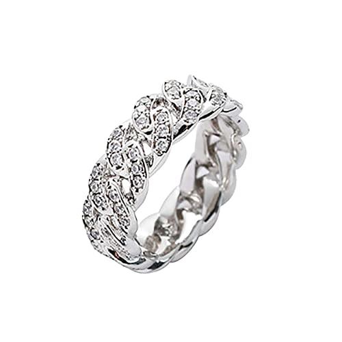 minjiSF Anillo cubano, hip hop, para hombres y mujeres, con personalidad, cadena de circonita, anillo de motero, anillo de moda, único, accesorio creativo, regalo, anillo punk (plata F, 6)