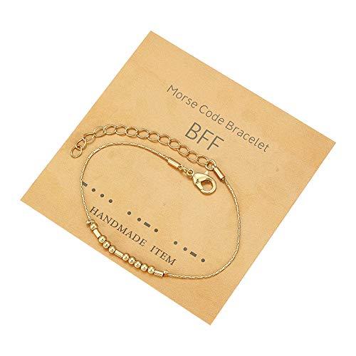 Pulseras de código Morse para mujer Pulsera de cuentas inspiradoras para ella Regalos de estímulo de acero inoxidable para mamá, hija, hermana, mejores amigos, joyería