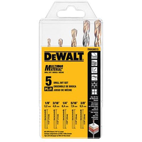 DEWALT DWA56015 Multi-Material Drill Bit Set, 5-Piece