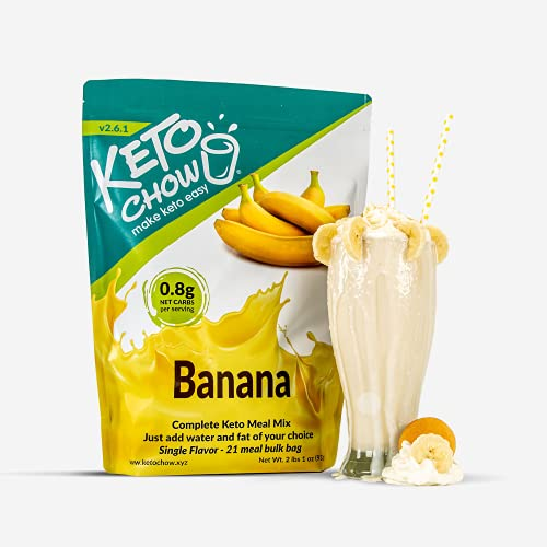 Keto Chow | Keto Meal Replacement Shake | Nutritionally Complete | Low Carb | Delicious Easy Meal Substitute | You Choose The Fat | Banana | 21 Meal Bulk Pack