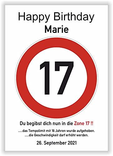 17 Jahre Happy Birthday Verkehrszeichen Karte - Geschenk zum 17. Geburtstag Geschenkidee Junge Geburtstagsgeschenk Mädchen fünfzehn Party Deko Bild Geburtstagskarte