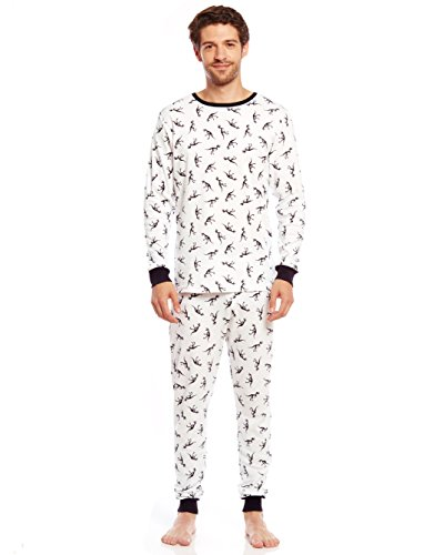 Leveret Men's Dinosaur 2 Piece Pajama Set 100% Cotton (X-Small)