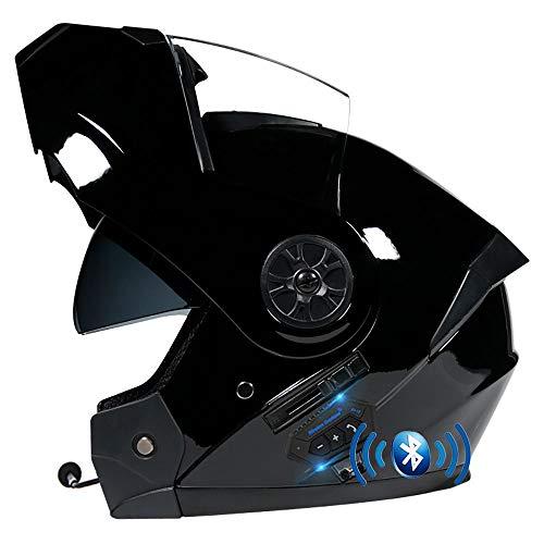 BDTOT Casco Modulare Bluetooth Casco da Moto Integrato Omologato DOT ECE Sistema di Comunicazione Interfono Integrato Doppia Visiera per Uomini e Donne Adulti per Risposta Automatica