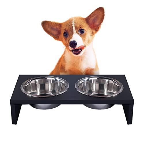 Pawise Tazón elevado para perros alimentador para perros de acero inoxidable tazón de fuente de madera doble de 750 ml