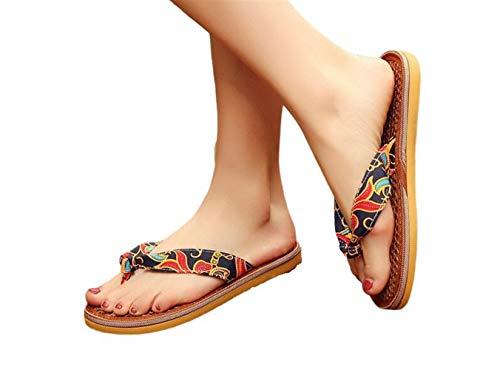NOLOGO Señoras de Bohemia Zapatillas Zapatillas cómodas Deslizadores de Las Sandalias de Playa/Zapatos de la Playa Plataforma Ocasional de Moda Zapatillas Abrir-Punt (Color : Black, Size : 37-38)