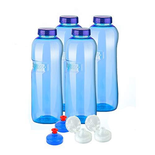 4 x Original Kavodrink Trinkflaschen aus TRITAN 100% ohne Weichmacher im Sparset: 4x1 Liter (rund) + 4 Standarddeckel + 2 Sportdeckel (FlipTop) + 2 Trinkdeckel (Push PULL)