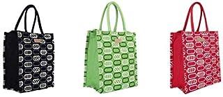 ECOTARA Natural Jute Lunch Bag for Men & Women with Bottle Holder Set of 3 - Multicolour