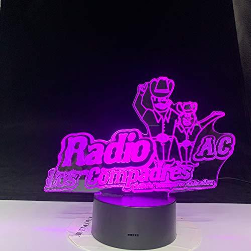 Radio AC Los Compadres Patty Acrílico Creativo Dormir 3D LED Luz de noche Lámpara de mesa Mesita de noche Decoración Regalo de niños