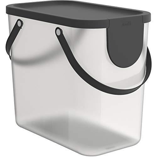 Rotho Albula Aufbewahrungsbox Deckel, Kunststoff (PP recycelt), transparent/anthrazit, 25l, (40 x 23,5 x 34 cm)