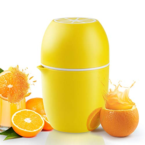 Exprimidor de limones, exprimidor 4 en 1, portátil, en forma de limón, exprimidor manual con dos posibilidades de prensado para diferentes frutas (amarillo)