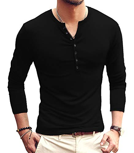 YTD Mens Casual Slim Fit Basic Henley Long Sleeve Fashion T-Shirt M Black