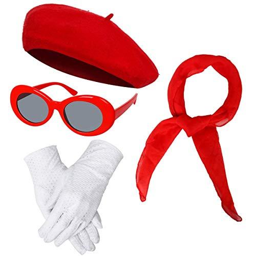 NUWIND - Accesorios de Vestuario de los años 40 para Mujer, Gorro Francés de Boina, Bufanda de Gasa, Guantes, Gafas de Sol ovales Retro (Rojo)