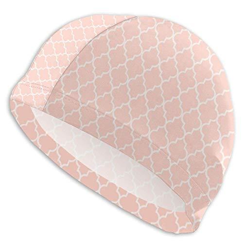 Quintion Robeson Patrón geométrico marroquí: Gorro de natación de melocotón, Gorro de baño de señora, Gorro de baño de poliéster para niña Adolescente Adulta de Personalidad