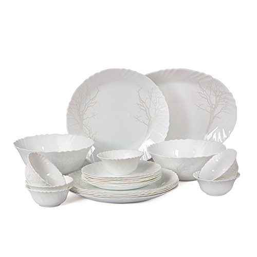 Cello Imperial Winter Frost Opalware Dinner Set, 21 Pieces, White