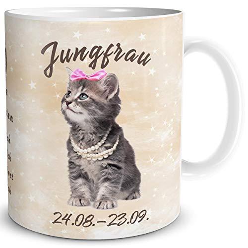 TRIOSK Tasse Katze lustig mit Spruch Sternzeichen Jungfrau Katzenmotiv Geschenk für Katzenliebhaber Geburtstag Frauen Freundin
