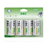 EBL Rechargeable D Batteries, 10000mAh Ni-MH High Capacity D Cell Battery New Retail Package, Pack of 4