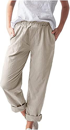 XL Pantalones de Lino para Mujer Pantalones Harem Casuales para Mujer Pantalones de Verano para Mujer 2021 Pantalones Sueltos de Verano Pantalones Casuales de Playa Pantalones de Pierna Recta