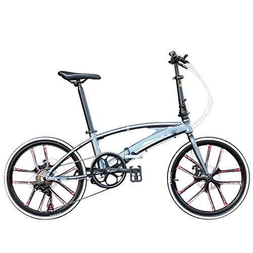 Bicicleta Plegable Marco De Aleación De Aluminio Ultraligero 7 Velocidades Cambio De Ciudad Scooter De Cercanías Freno De Disco Mecánico Delantero Y Trasero Bicicleta De Montaña Para Exteriores