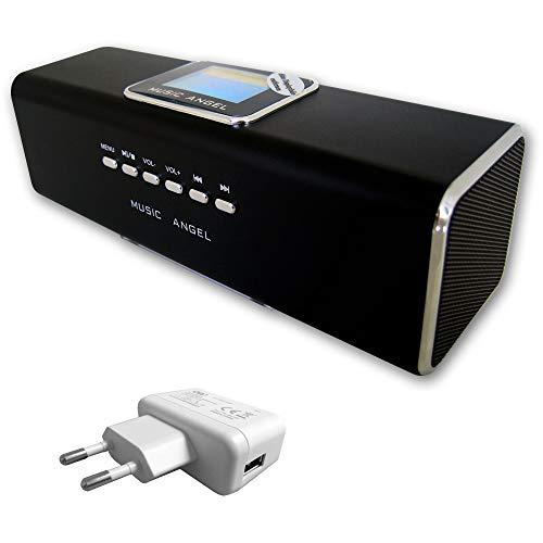 Geschenk-Set Music Angel - Mini Lautsprecher mit Radio, Stereo Boxen mit USB- & MicroSD-Slot, Wecker, Uhr & Line-In + passendem USB-Netzteil 1000mAh (schwarz)