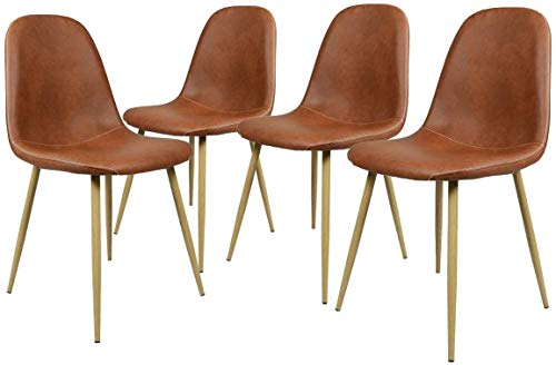 GreenForest Dining Chairs Set of 4,Washable PU Leather Dining Chair Cushion Upholstered Seat Kitchen Room Side Chair with Metal Legs for Living Room, Camel Brown