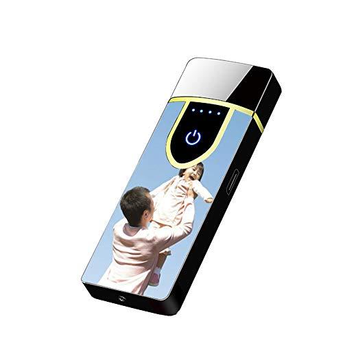 NA Personalisierte Druckfotos USB Wiederaufladbares Feuerzeug Benutzerdefiniertes Winddichtes Feuerzeug Vatertagsgeschenk(Schwarz-einzelne Seite 78 * 29 * 12mm/3.0 * 1.2 * 0.3 in)