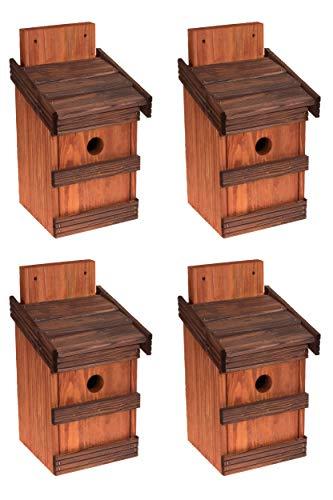 4 x Nistkasten Natur für Blaumeisen & kleine Meisenarten, solide gemacht aus Holz Vogelhaus für Meisen, Nisthilfe mit 32 mm Einflugloch Vogelhaus Meisenkasten Nisthöhle (Erle + Rosenholz)