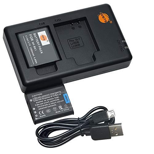 DSTE 2PCS NP-BK1(1300mAh/3.7V) Batería Cargador Compatible para Sony Bloggie MHS-CM5,MHS-PM5,Cyber-Shot DSC-S750,DSC-S780,DSC-S850,DSC-S950,DSC-S980,DSC-W180,DSC-W190,DSC-W370,Webbie MHS-PM1 Cámara