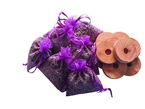 Quercus Living Bolsas de lavanda aromáticas y anillos colgantes de madera de cedro, repelente de insectos y polillas para ropa, cajones, armarios, zapatos, viajes, dormir, exámenes y coches