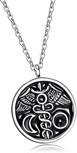 Yaoliangliang Collar Alquimia Colgante Collar Sol y Luna Tallado Uniforme Símbolo Amuleto Collar Joyería Regalos Señoras Hombres