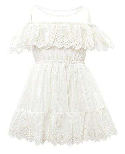 CIELARKO Girls Dress Summer Mesh Sleeveless Children Dresses (6-7 Years, White)