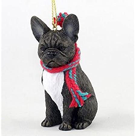 French Bulldog with Scarf Christmas Ornament (Large 3 inch version) Dog