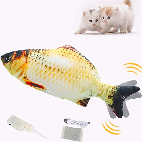 Katzenspielzeug Fisch, Sinicyder USB Elektrische Plüsch Fisch Katzenspielzeug mit Katzenminze für Katze, Interaktive Katzenspielzeug zu Spielen, Beißen, Kauen und Treten, 20CM Simulation Fisch