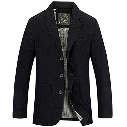 Newbestyle Mens Casual Solid Cotton Twill Suit Blazer Jacket (Large, Black)