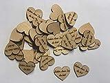 Streudeko Holz Herz Tischdeko Schön, dass Du da bist Dekoherzen Streuteile Holzherz Streudeko Hochzeit Geburtstag (2 cm)