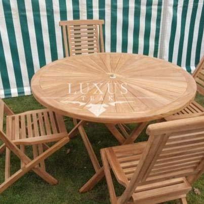 Luxus Home And Garden - Mueble de jardín (120 cm, mesa redonda, 4 sillas plegables)