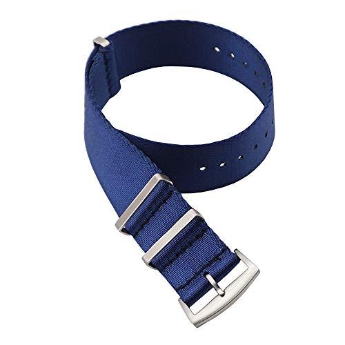 Correas NATO de Nylon. Cinturón de Seguridad. Correa de Reloj de Resistente Diseño Militar Tamaños (18mm, 20mm, 22mm) (18mm, Navy)