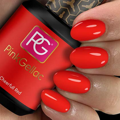 PINK GELLAC Shellac Gel Nagellack 15 ml für UV LED Lampe   107 Cheerfull Red Rot pink   Gel Nail Polish for UV Nail Lamp pink   LED Nagel Lack Gellack Nagelgel