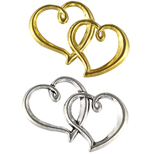 30 Pcs Silver/Gold Plated Double Heart Sweetheart Charms for Wedding Favor Invitation Decoration Love Theme Party Jewelry Accessories