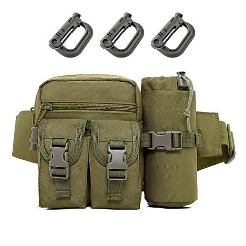 Aoutacc Riñonera táctica militar con bolsillo para botella de agua, apta para senderismo, camping, montañismo, pesca, actividades al aire libre, Green (Verde) - BD4N27ORHH2160HZX0X