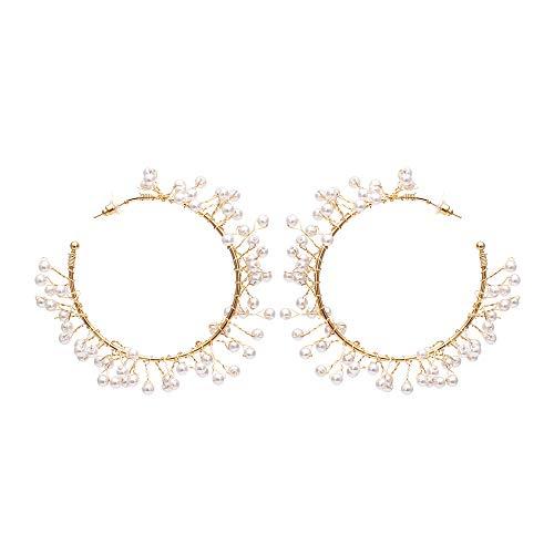 Handgewebte farbige Kies Ohrringe übertrieben geometrische Runde Ohrring Ohrringe Perle